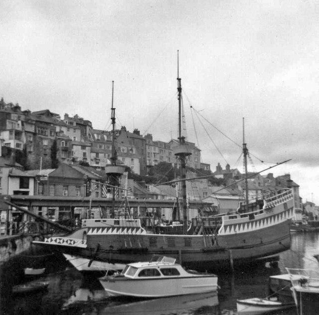 The Golden Hind Museum Ship, Brixham Harbour, Devon, taken 1968