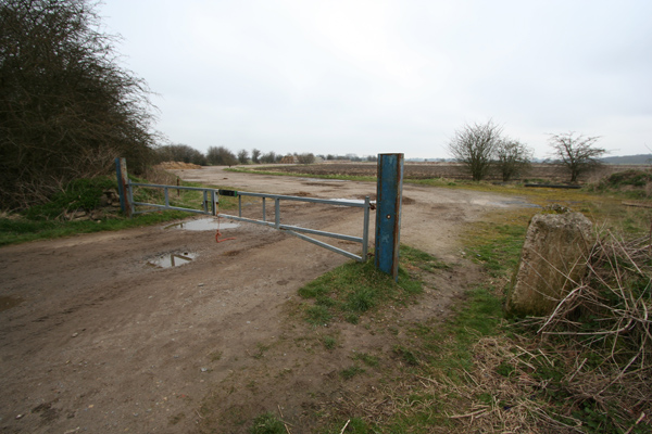 Entrance to disused airfield perimeter track
