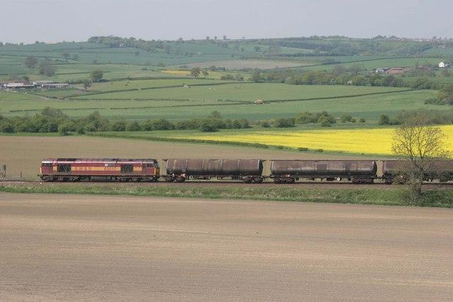 Oil train heads south towards Barrow Hill