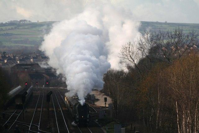 Steam passes Barrow Hill sidings