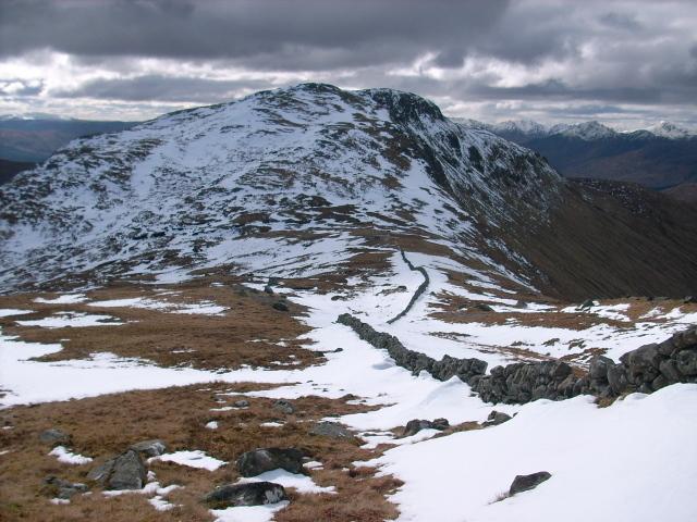 Wall running down ridge