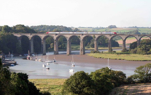 St Germans Viaduct evening train