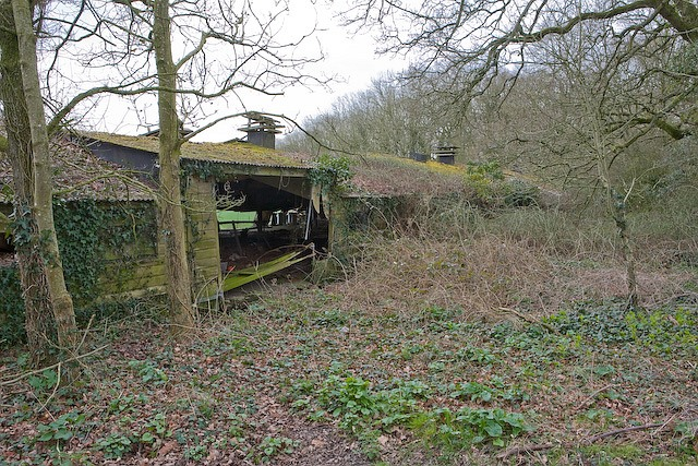 Derelict poultry shed beside footpath at Whitehouse Farm