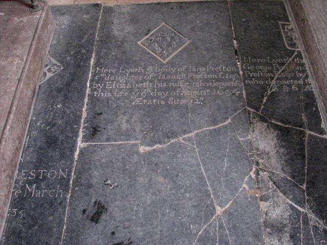 Broken C17 tomb slabs