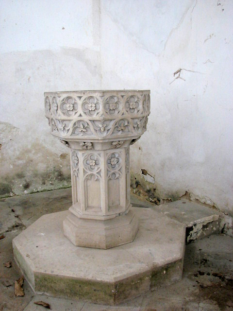 The church of St Lawrence - baptismal font