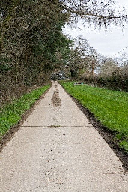 Concrete access road to Melchetcourt Farm