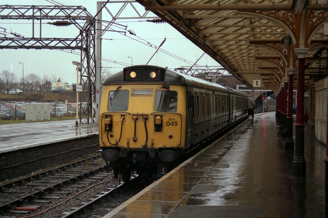 Altrincham station in the rain