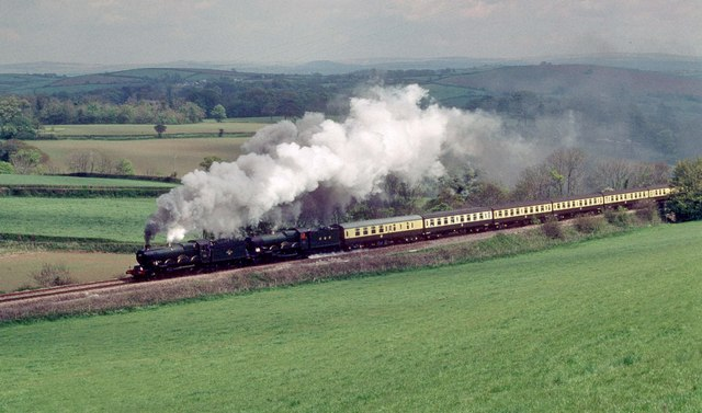 Castle class locos  5051 and 5029 climb St Germans bank