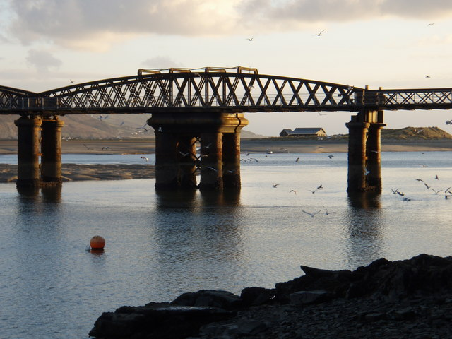 Swing open section of Barmouth Bridge