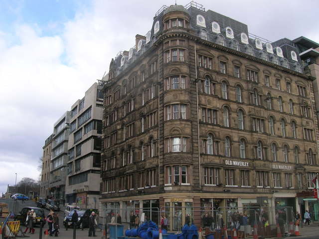 Old Waverley Hotel at the junction of South St David Street and Princes Street, Edinburgh