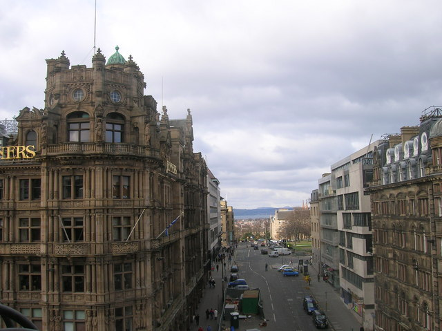 South St David Street from the Scott Monument