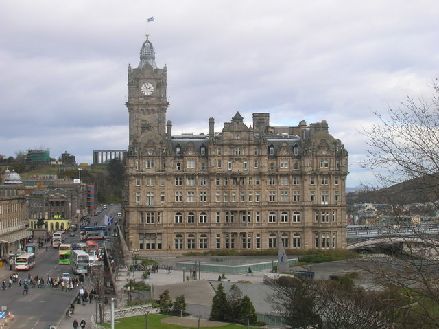 Waverley Square and the Balmoral Hotel from the Scott Monument