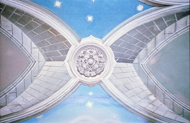 Detail of the Chapel roof art work painted by Italian POWs