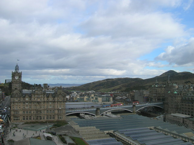 North Bridge and Waverley Station Roof from Scott Monument