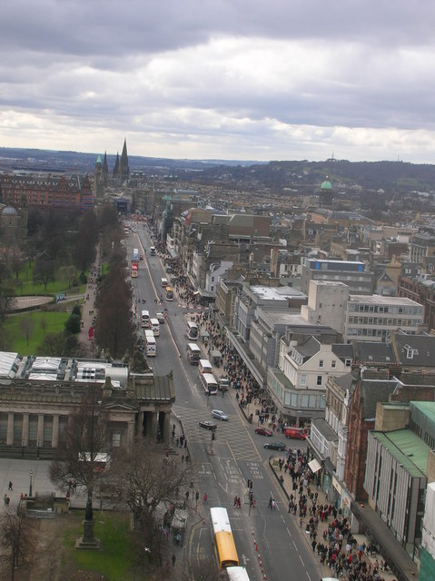 Princes Street looking west from on the Scott Monument