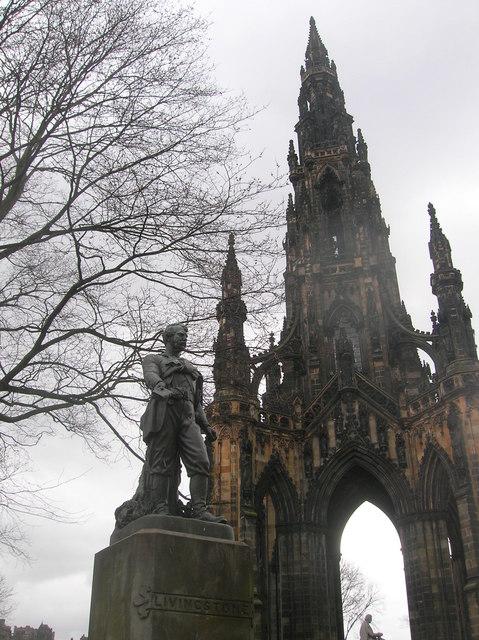 David Livingstone and the Scott Monument, Princes Street Gardens, Edinburgh