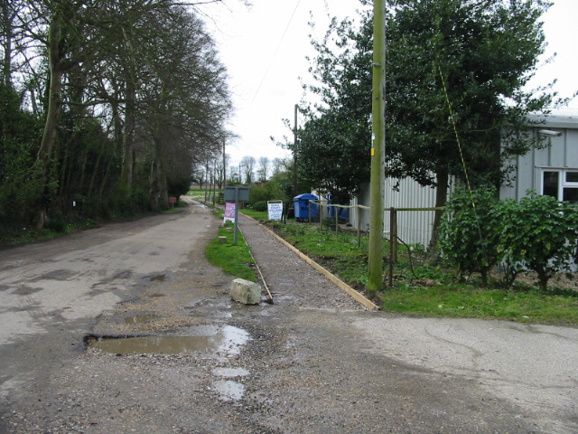 Road and path past The Secret Garden nursery