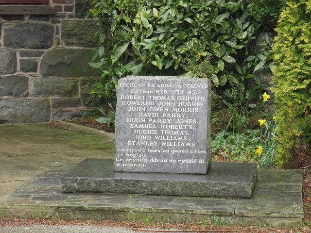 The WWII Memorial at Ysgol Bethel