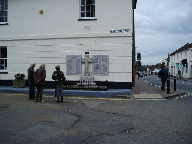War Memorial, Cagefoot Lane at junction with High Street (A281)