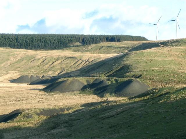Spoil heaps below Ffynnon Oer wind farm