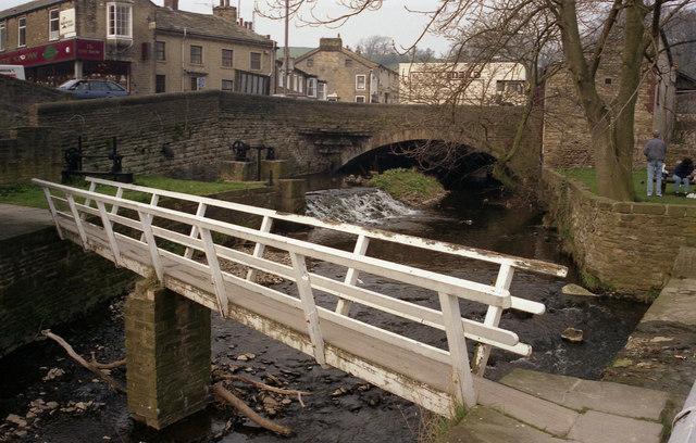 Footbridge and Weir, Eller Beck, Skipton