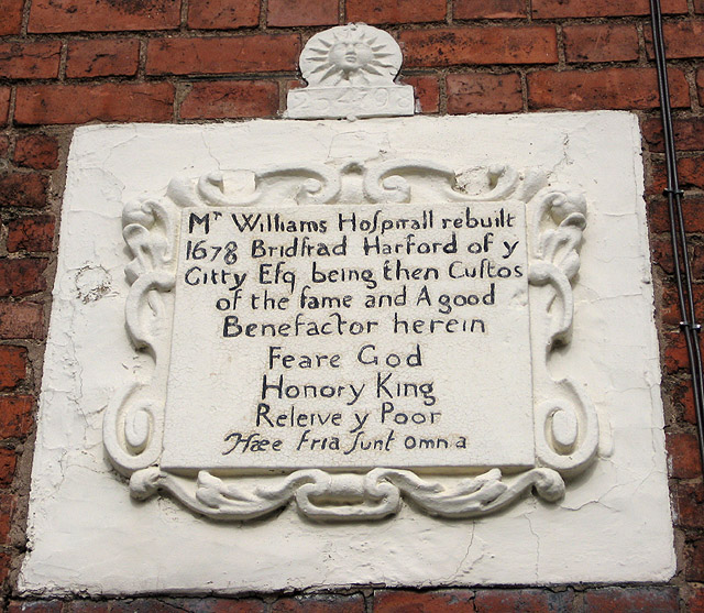 Inscription above the Williams Almshouses