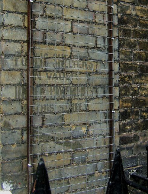 Second World War Public Shelter Sign, Longmoore Street, London SW1