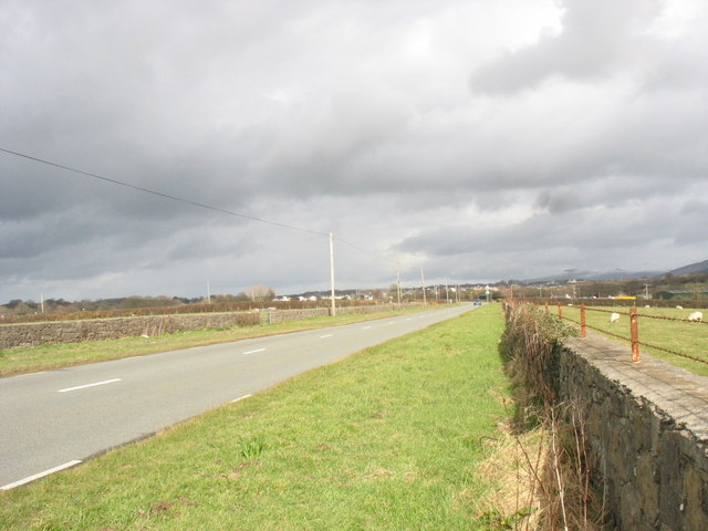 The B4366 at the western approach to Bethel