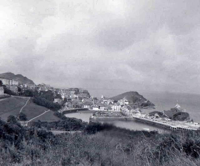 Looking from cliff top to Ilfracombe Harbour, Devon taken 1960