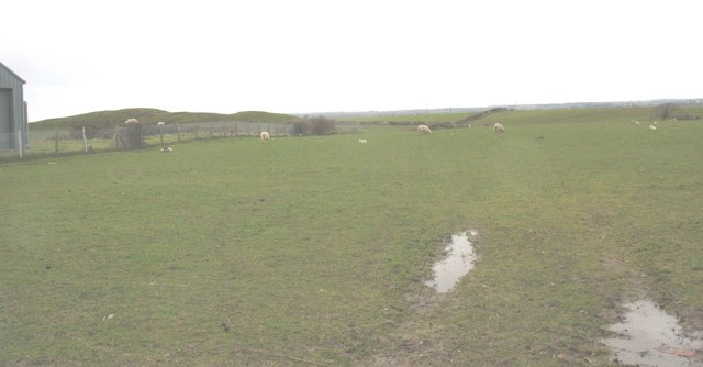 View westwards across the fields from the covered reservoir