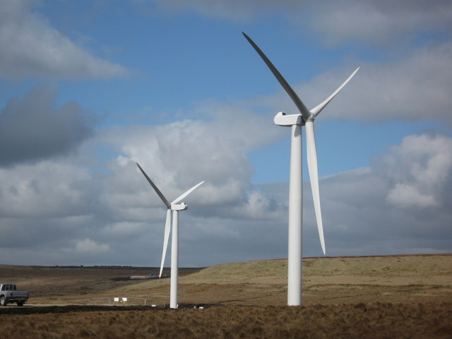 Completed Turbine Towers 8 and 12 on Scout Moor