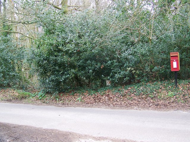 Post box and bridleway near Whitsbury House