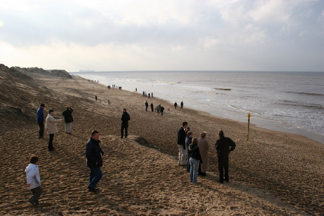 Formby Point: A lot of people on a little beach