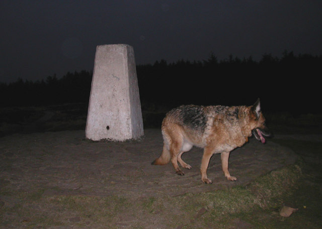 Trig Point at night, Beacon Fell