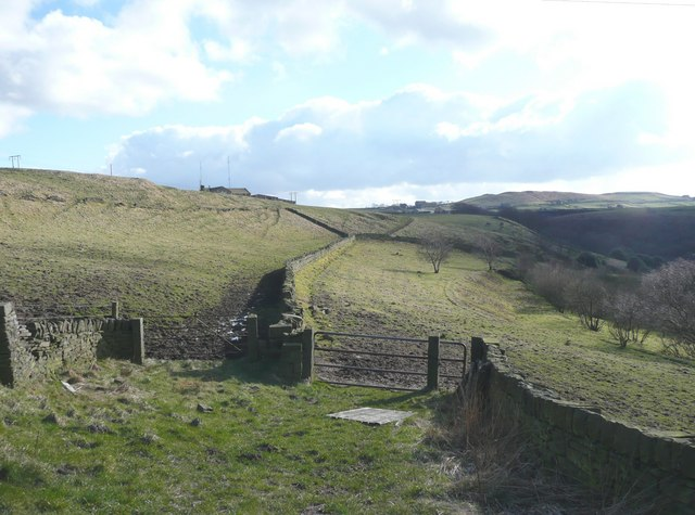Fields and footpath, Stainland
