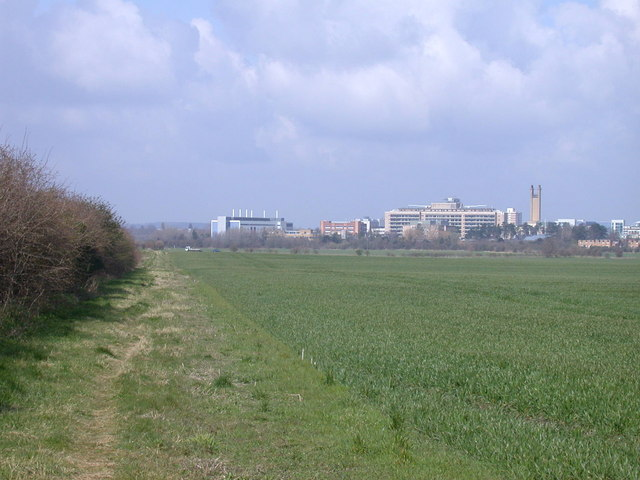 Permissive bridleway, with view of Addenbrooke's Hospital