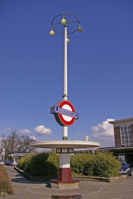 Art Deco Seat and Station Sign, Oakwood, London N14