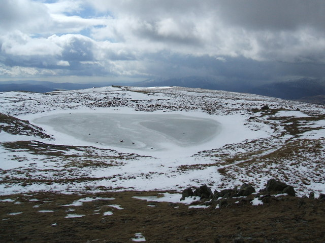 Frozen tarn on Red Screes