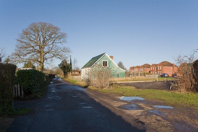 Looking along Gregory Lane towards Heathen Street, Durley