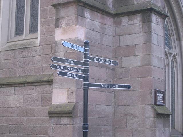 Signpost outside St. Johns Church