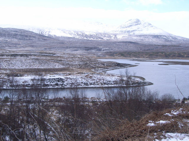 Looking across Loch Achanalt in the snow