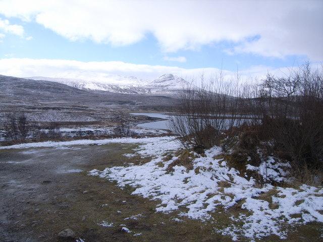 Looking across Loch Achanalt in the snow