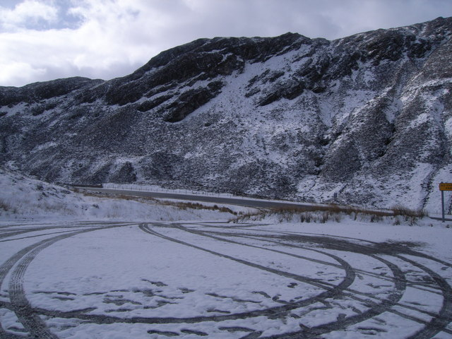 A832 viewpoint car park in the snow