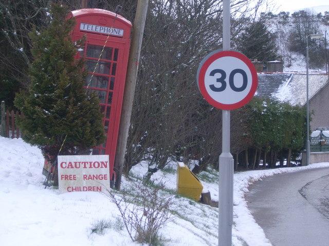 Milltown of Edinville phone box & free range children sign