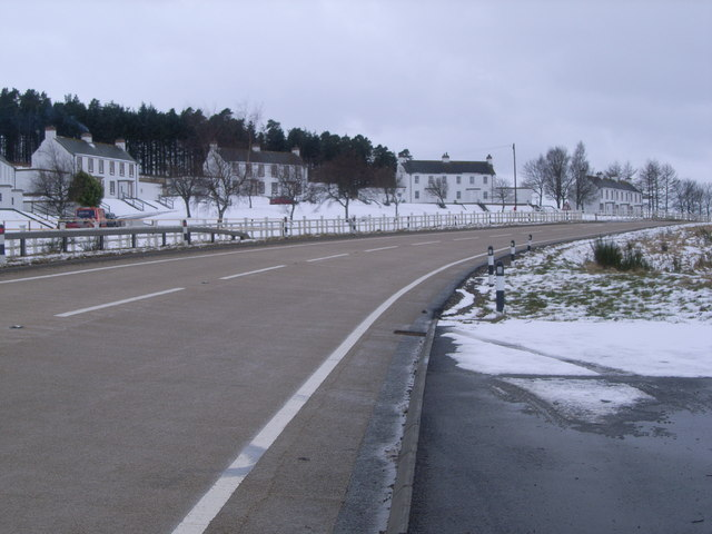 Looking south west along A95 at Tormore