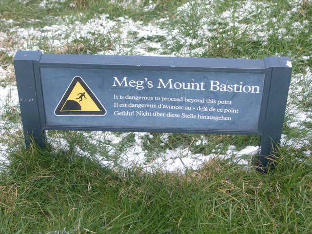Meg's Mount Bastion sign, city walls, Berwick
