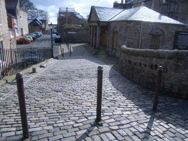 Cobbled street and bollards