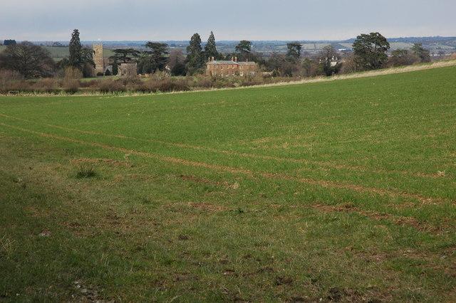 Little Comberton viewed across farmland