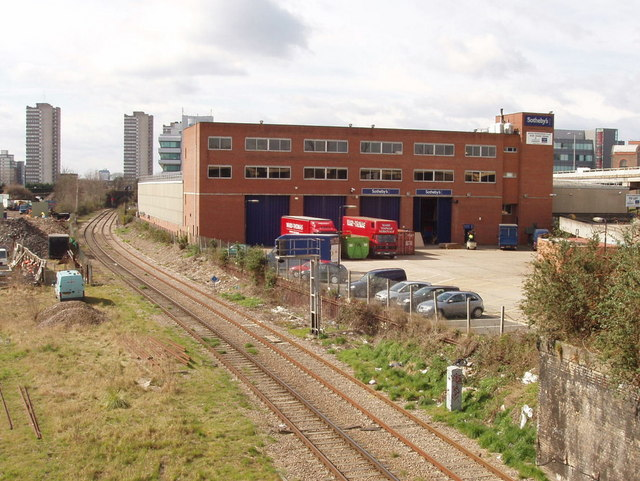 Sotheby's warehouse and London Overground railway