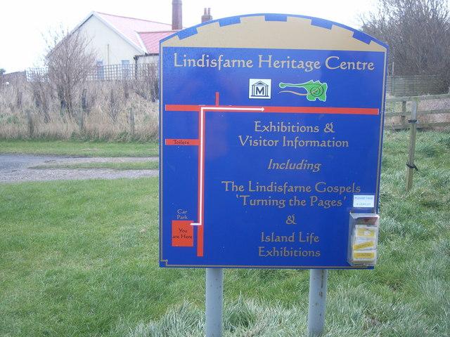 Lindisfarne Heritage Centre sign